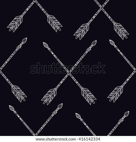 pattern ethnic arrows. Seamless background of vintage arrows