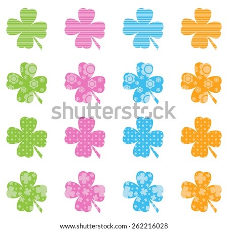Pattern Filled Clovers - stock vector