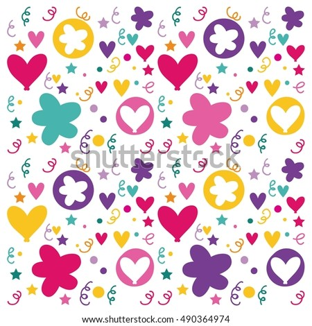 pattern flowers and hearts poster icon vector illustration design