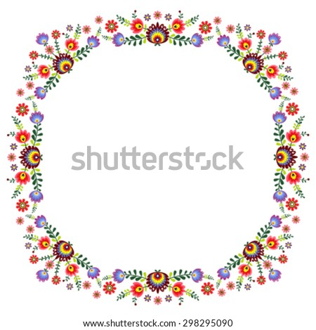 pattern folk with flowers - frame