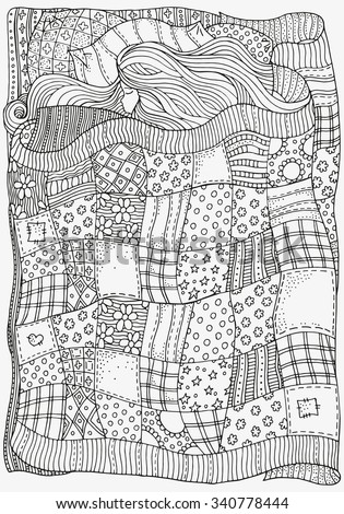 Pattern for coloring book. A4 size. Sleeping baby. Artistically ethnic patterns. Hand-drawn, ethnic, retro, doodle, vector, zentangle, tribal design element. - stock vector