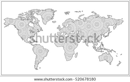 black and white doodle graphic illustration of map of world