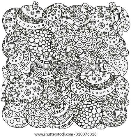 Pattern For Coloring Book Christmas Hand Drawn Decorative Elements In Vector Fancy