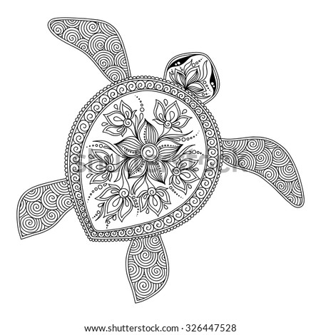 Pattern for coloring book. Coloring book pages for kids and adults. Decorative graphic turtle. Henna Mehndi Tattoo Style Doodles - stock vector