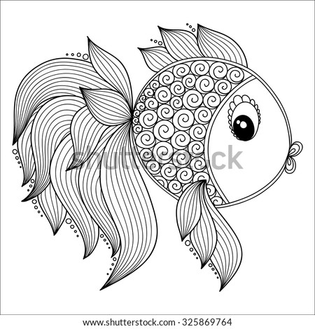 Kids coloring pages stock photos royalty free images for Adult fish coloring pages
