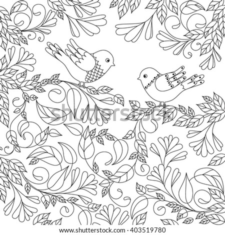 Pattern For Coloring Book Adult And Children Flower Pair Of