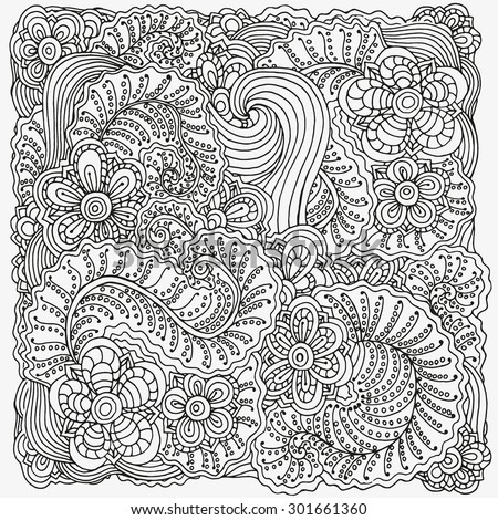 Vector Pattern For Coloring Book Ethnic Retro Design In Zentangle