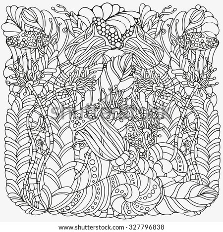 Pattern for coloring book.  Ethnic, floral, retro, doodle, vector, tribal design element. Black and white  background. zentangle - stock vector