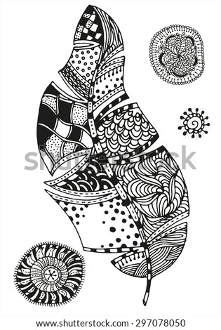 Aztec Designs Coloring Book Pattern For Feather And Mandalas On A White Background