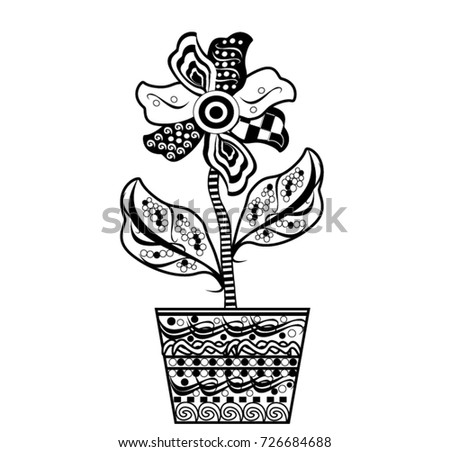 Pattern For Coloring BookFlower In A Pot Hand Drawn Decorative Elements
