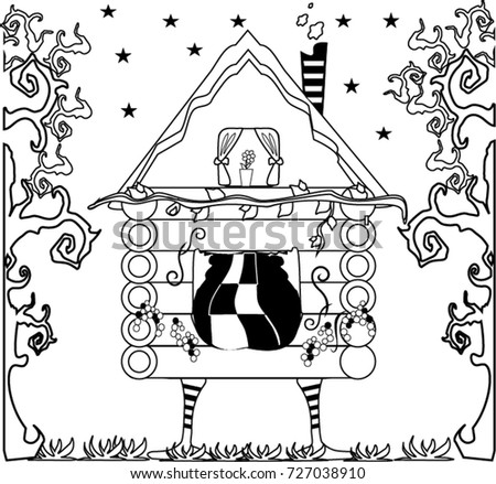 Pattern Coloring Book House Woods Handdrawn Stock Vector 727038910 ...