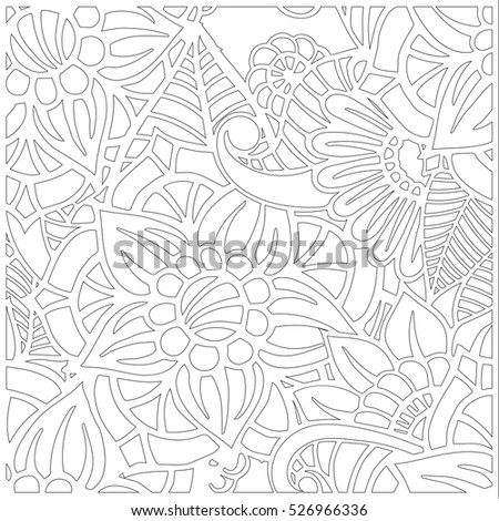 Pattern Coloring Book Leaves Ethnic Floral Stock Vector 526966336 ...