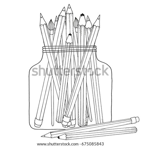 Pattern Coloring Book Set Colored Pencils Stock Vector 675085843 ...
