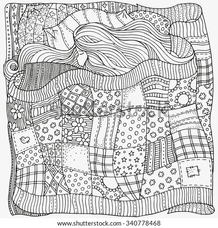 Pattern for coloring book. Sleeping baby. Artistically ethnic patterns. Hand-drawn, ethnic, retro, doodle, vector, zentangle, tribal design element. - stock vector