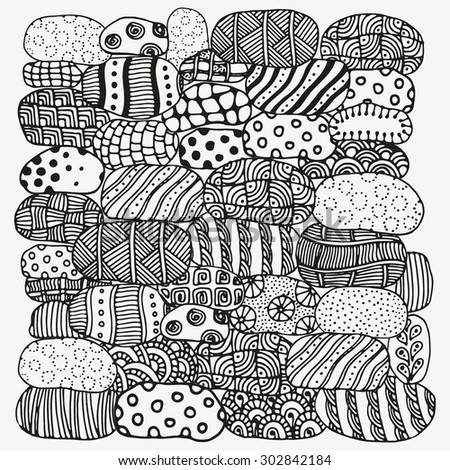 Pattern for coloring book with artistic stones.  Ethnic, floral, retro, doodle, vector, tribal design element. Black and white  background. - stock vector