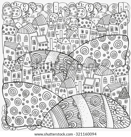Pattern for coloring book with artistically houses. Magic City, fields, landscape. Made by trace from sketch. Ink pen. Zentangle. Black and white pattern in vector. - stock vector