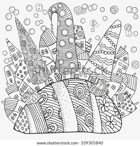 Pattern for coloring book with artistically houses, Xmas trees and snowman. Magic City, fields, trees, landscape. Made by trace from sketch. Ink pen. Zentangle. Black and white pattern in vector. - stock vector
