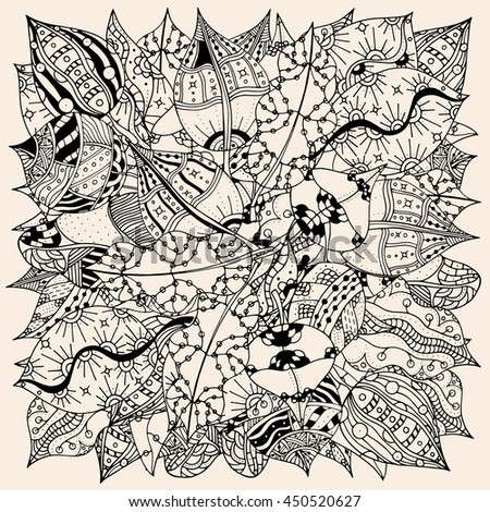 Pattern for coloring book with autumn leaves. Ethnic, floral, retro, doodle, vector, tribal design element. Black beige color