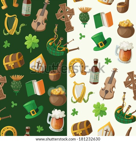 Pattern for saint patrick day with traditional irish items - stock vector