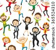 Pattern for seamless background. Happy people jumping on a white background. - stock vector