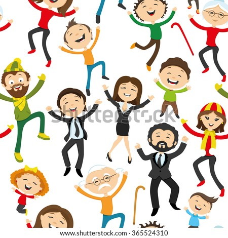 Pattern for seamless background. Happy people jumping on a white background.