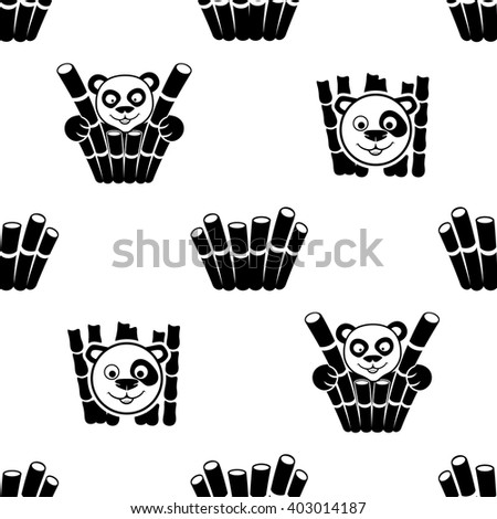 Pattern for seamless background. Panda and bamboo.