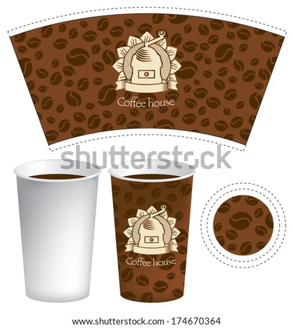 pattern for the cup of coffee with the texture of grains - stock vector