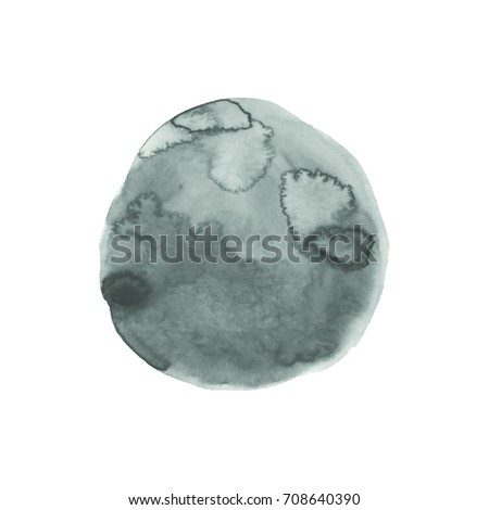 Pattern from one black and white round spot. Watercolor painting . Painted abstract background, watercolor composition. Hand drawn monochrome vector illustration. Flowing paint. Blurry drawing.