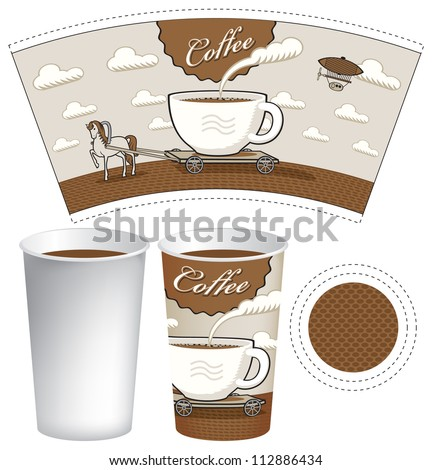 pattern glass patterned horse and cart in the form of a cup of coffee - stock vector