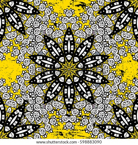 Golden Element On Yellow Background Floral Wallpaper Gold Ornament