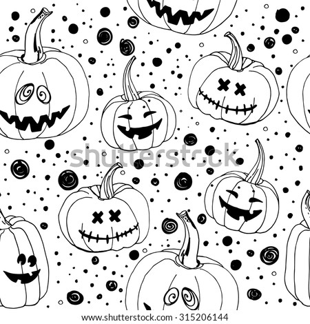 Pattern Halloween vector. Funny pumpkins, spiders and cobwebs, bats. Decorating for the holidays, autumn decor, children's drawing, scribble, black ornament - stock vector