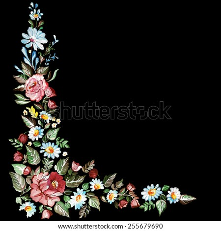 Pattern hand drawn floral ornament. Gouache illustration in Ukrainian traditional folk painting. - stock vector