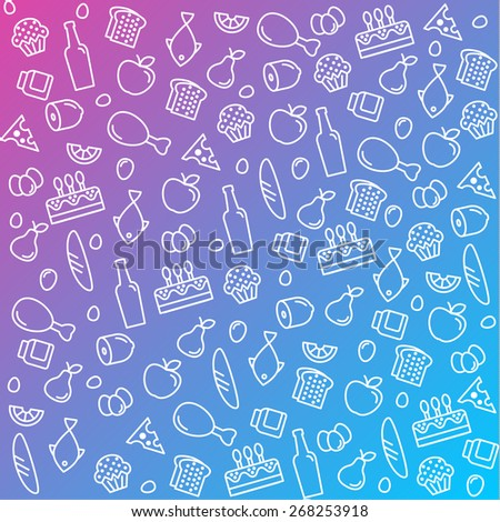 pattern icons line, outline food and products in flat style vector - stock vector