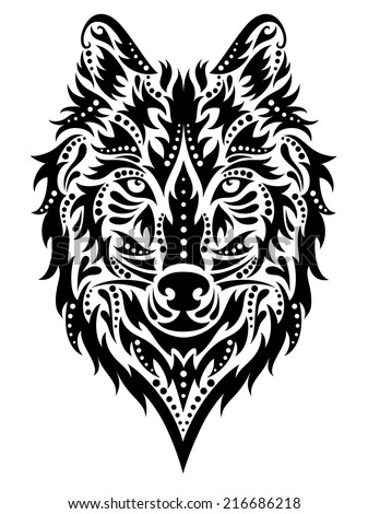 Pattern in a shape of a wolf on the white background. - stock vector