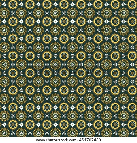 Pattern in Roman style. Ornament on ceiling vaults in mausoleum of Galla Placidia. Byzantine floral pattern of circles on dark green background. Vector illustration - stock vector