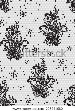 pattern in the form of floral black lace with dots  - stock vector