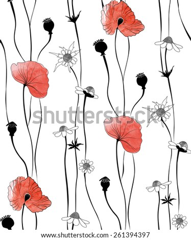 Pattern in the form of poppies on a white background