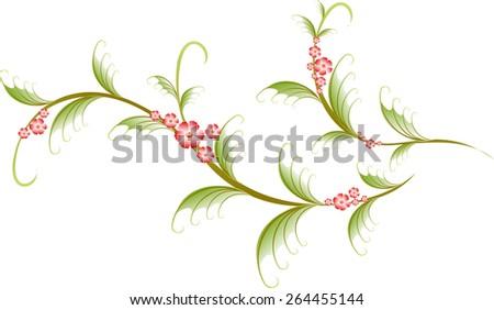 Pattern in the form of sakura branch. EPS10 vector illustration. - stock vector