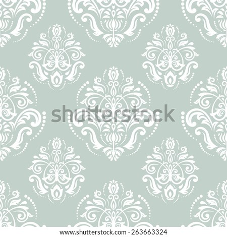 Pattern in the style of baroque. Seamless vector background. Damask texture with orient and floral elements. Blue and white colors - stock vector