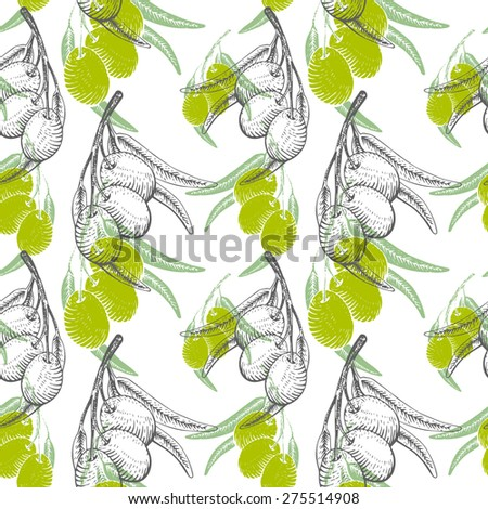 Pattern in woodcut style with olives. Hand drawn sketch fruits. Vector illustration. - stock vector