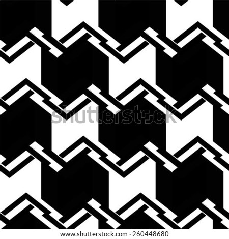 Pattern in zigzag with line black and white - stock vector