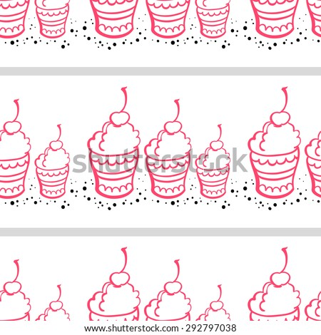 Pattern made from hand drawn pink ice cream, chocolate crumbs and gray stripes on the white background. - stock vector