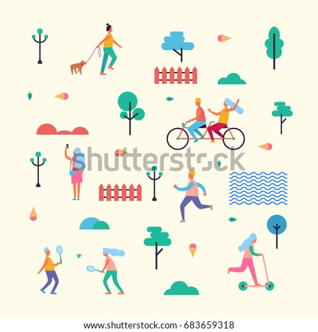 Pattern Made of characters that walk with dog, ride bicycle and scooter, do selfie, jog in morning, play badminton among trees vector illustration.