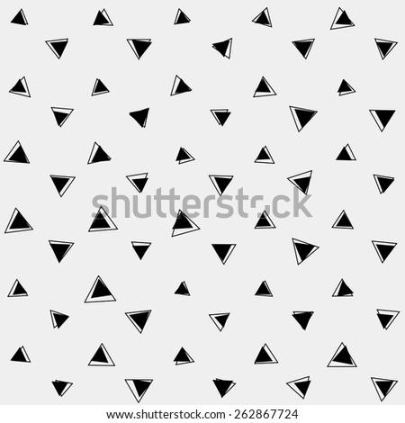 Pattern monochrome background simple triangle, retro vintage design vector, geometric - stock vector