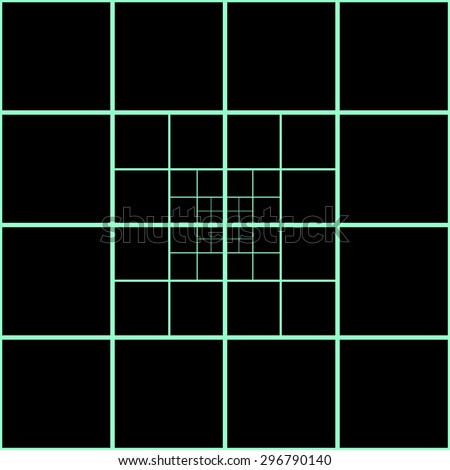 Pattern mosaic of geometric shapes of squares separated by decreasing the distance the bright green neon lines on a black background - stock vector