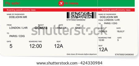 Pattern of a boarding pass or air ticket