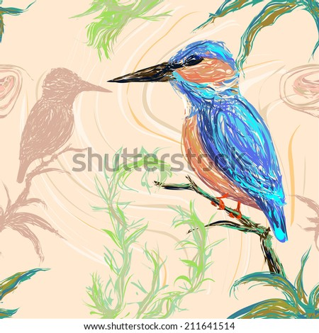 Pattern of a kingfisher bird sitting on a branch on a pastel background with its reflection - stock vector