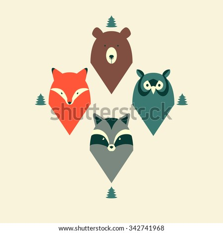 Pattern of animals with fir-tree. - stock vector