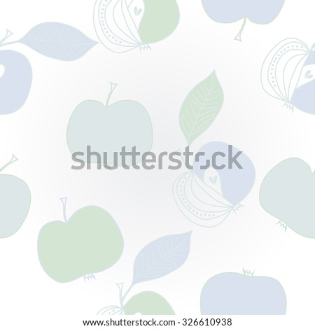 Pattern  of apples, leaves, ellipses, spots,stripes. Hand drawn.