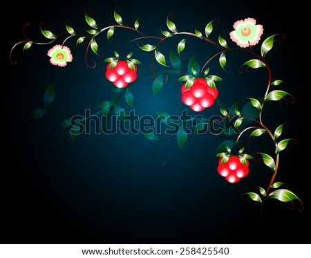 Pattern of beautiful fruits flowers on a black base. EPS10 vector illustration. - stock vector